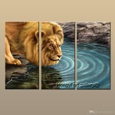 2017 3 panel gift large modern contemporary fantasy animal lion