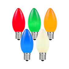 5 watt light bulbs 25 pack of assorted c7 ceramic opaque replacement christmas light bulbs