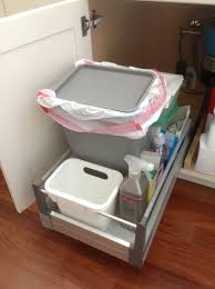 Kitchen Island With Trash Bin by Under Sink Trash Can Pull Out Best Sink Decoration