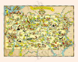 Map Of Pennsylvania And New York by Pictorial Map Of Pennsylvania Colorful Fun Illustration Of