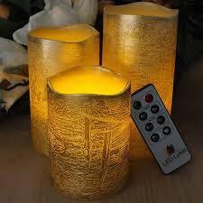 halloween gold rustic gold flameless candles with timer remote control unscented
