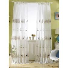 ivory nautical floor to ceiling embroidered childrens sheer curtains