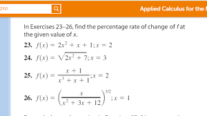 How To Find The Rate Of Change In A Table Solved Find The Percentage Rate Of Change Of F At The Giv