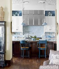 Tile In The Kitchen - a very blue house with moroccan style on lake michigan