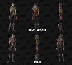 legion demon hunter wardrobe variations to show off tattoos wow