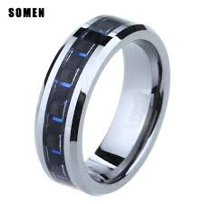 promise ring for men 6mm tungsten black blue carbon fiber inlay ring men women