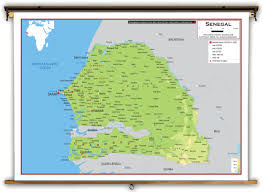 africa map senegal senegal physical educational wall map from academia maps