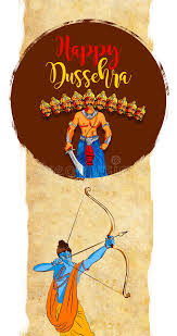 stock illustration of a greeting card saying happy dussehra with