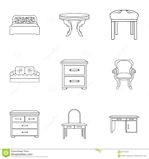 furniture and home interior set icons in outline style big