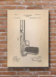 Browning Home Decor Browning Firearm Patent Browning Firearm Print Gun By Dalumna