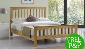 Oak Bed Double Alderley Shaker Style Solid Oak Bed Daily Deals