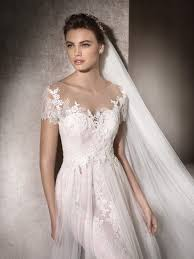st patrick mar short sleeve unique lace and tulle wedding dress
