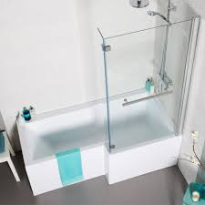 eden 170cm l shape rh shower bath with screen front panel