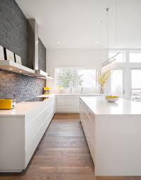 Wood Veneer Kitchen Cabinets White Kitchen Design With Hardwood Floor Others Extraordinary Home