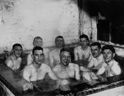 wonderful retro photos of footballers in the bath flashbak