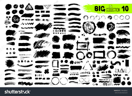 big collection black paint ink brush stock vector 574646962