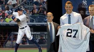 Aaron Judge Yankees Slugger Becomes Tallest Center Fielder - aaron judge giancarlo anchor great yankees of mlb com