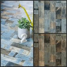 blue painted wood design lino flooring sheet non slip cushioned