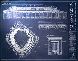 what size paper are blueprints printed on yankee stadium blueprint style poster new york yankees ballpark