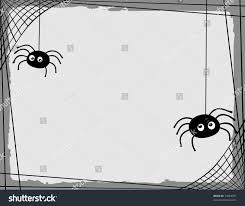 two cartoon spiders spinning web border stock vector 74963071