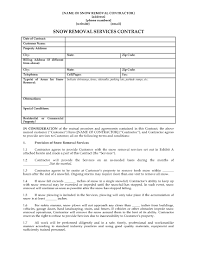 snow removal contract form legal forms and business templates