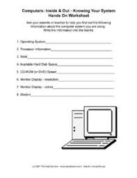 Computer Lesson Worksheets Knowing Your Computer 6th 8th Grade Worksheet Lesson Planet