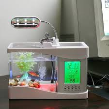 aquarium bureau le écran aquarium poisson aquarium fish tank pompe usb led lcd