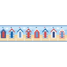 fine decor ceramica beach huts self adhesive border blue multi