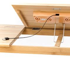 Laptop Cooling Desk by Natural Bamboo Tablet Laptop Up To 15in Cooling Stand With Fan