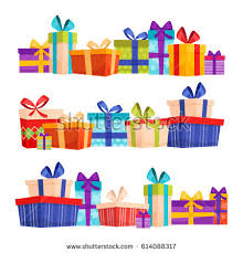 boxes with bows set colorful gift boxes bows ribbons stock vector 614088317