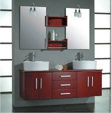 red gloss two bowl washbasin bathroom vanity ideas also with wall