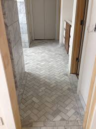 11 best images of herringbone bathroom floor tile design