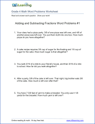 math problem fractions 4th grade word problem worksheets printable k5 learning
