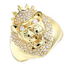 king gold rings images 14k gold mens king lion head ring with diamonds and crown pinky jpg
