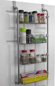 kitchen cabinet door storage racks home basics heavy duty 4 tier the door storage shelf hanging cabinet metal pantry rack organizer spice space grey gray