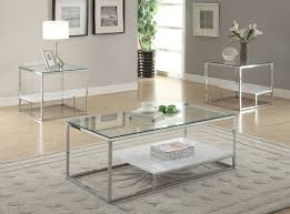 Glass And Chrome Coffee Table Acme 80430 Set Ruben 2pcs Clear Glass Chrome Coffee Table Set