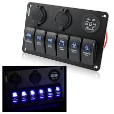 carchet 6 gang led car boat rocker switch panel 2 usb socket