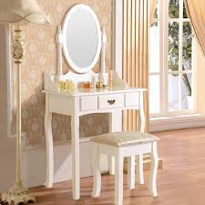 White Mirrored Bedroom Furniture Amazon Com Dfm Dressing Table Makeup Desk W Stool Drawers U0026 Oval