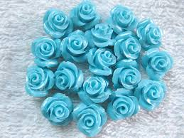 turquoise flowers wholesale synthetic blue turquoise flower carvings 10mm 合成松石