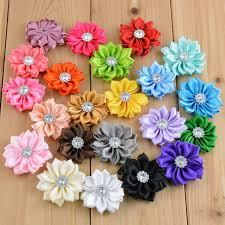 flowers for headbands 22pcs 3 7cm satin fabric sun flower for headbands hair hair