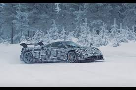 nissan gtr in snow watch the pagani huayra bc go crazy in the snow motor trend