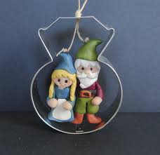 gnome couple christmas ornament wedding diamond engagement