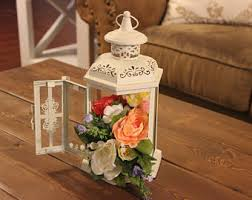Lanterns With Flowers Centerpieces by Lantern Centerpiece Etsy