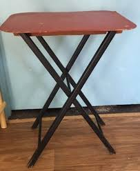 Small Folding Side Table Vintage Wood Small Folding Side Table Red Top Black Legs What U0027s
