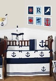 navy and white anchors away nautical baby bedding 9 piece crib set