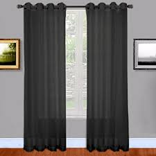 black semi sheer grommet curtains amazon com