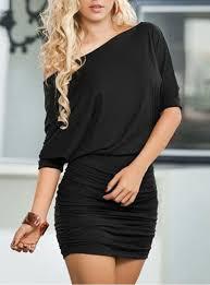 mini dress black diagonal neckline one shoulder bodycon