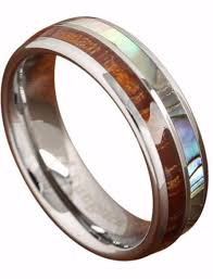 two tone wedding rings koa wood abalone tungsten two tone wedding ring half northernroyal