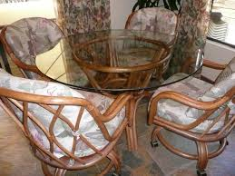 Rattan Dining Room Chairs Ebay Rattan Dining Room Set Glass Top Table And Four Chairs With