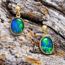 opal earring necklace set images Gold triplet opal earrings black star opal jpg